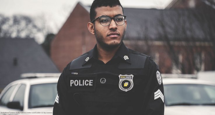 Police officer on duty with body camera
