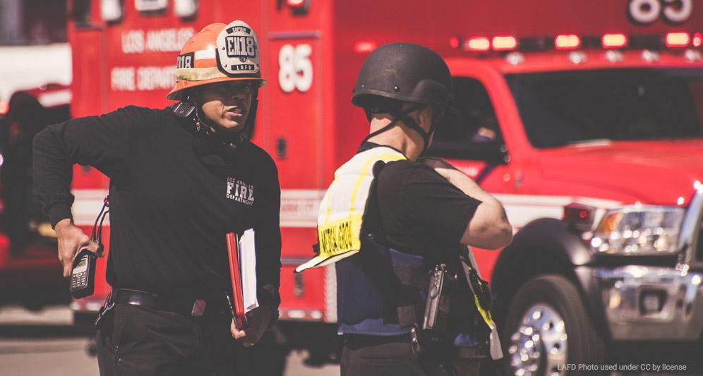 firefighter and EMT on scene
