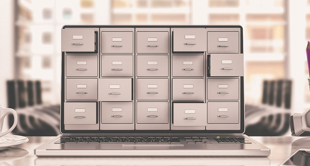Filing cabinet drawers on laptop screen