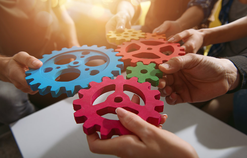 Coworkers holding gears