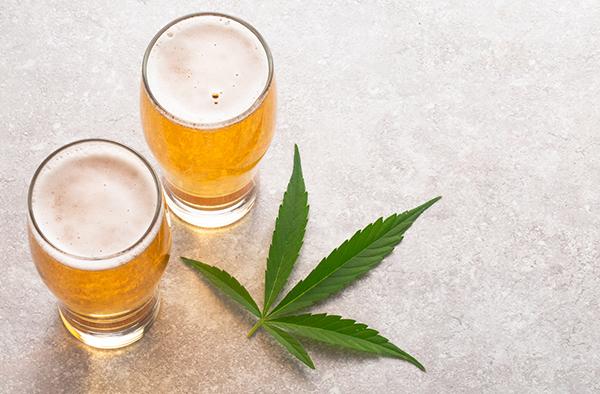 beer and marijuana leaf