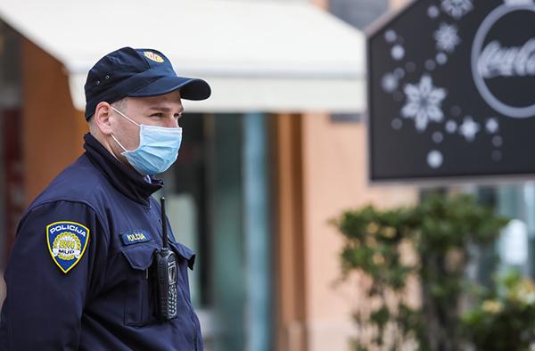 police officer wearing mask